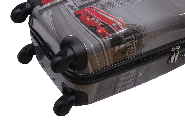 Rocklands London Lightweight 4 Wheel Hard Shell PC London Printed Luggage Set Suitcase Cabin Bag PC-05 20+25+29 Full Set// 3 Pcs