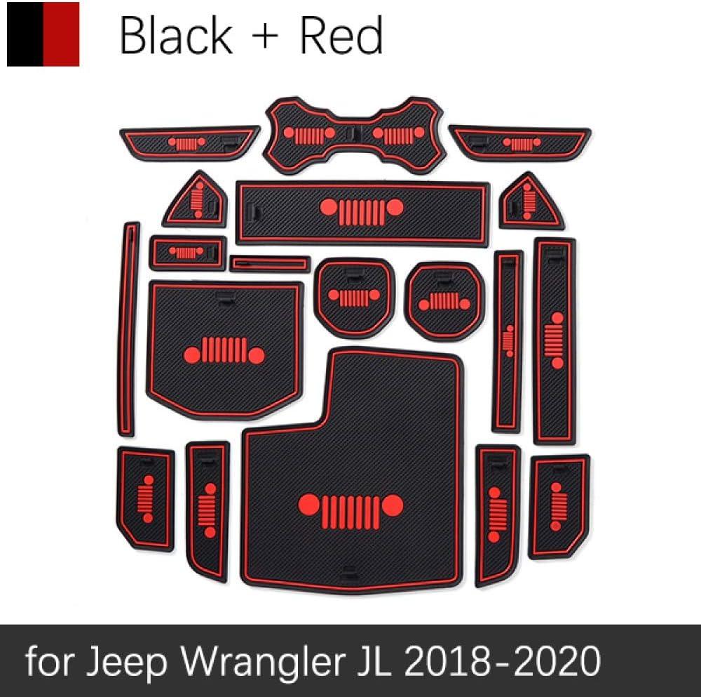 JXSMDNB Door Groove Mat Accessories Anti Slip Mat Gate Slot Coaster Car Inter For Jeep Wrangler JL 2018 2019 2020 Sport S Sahara Rubicon