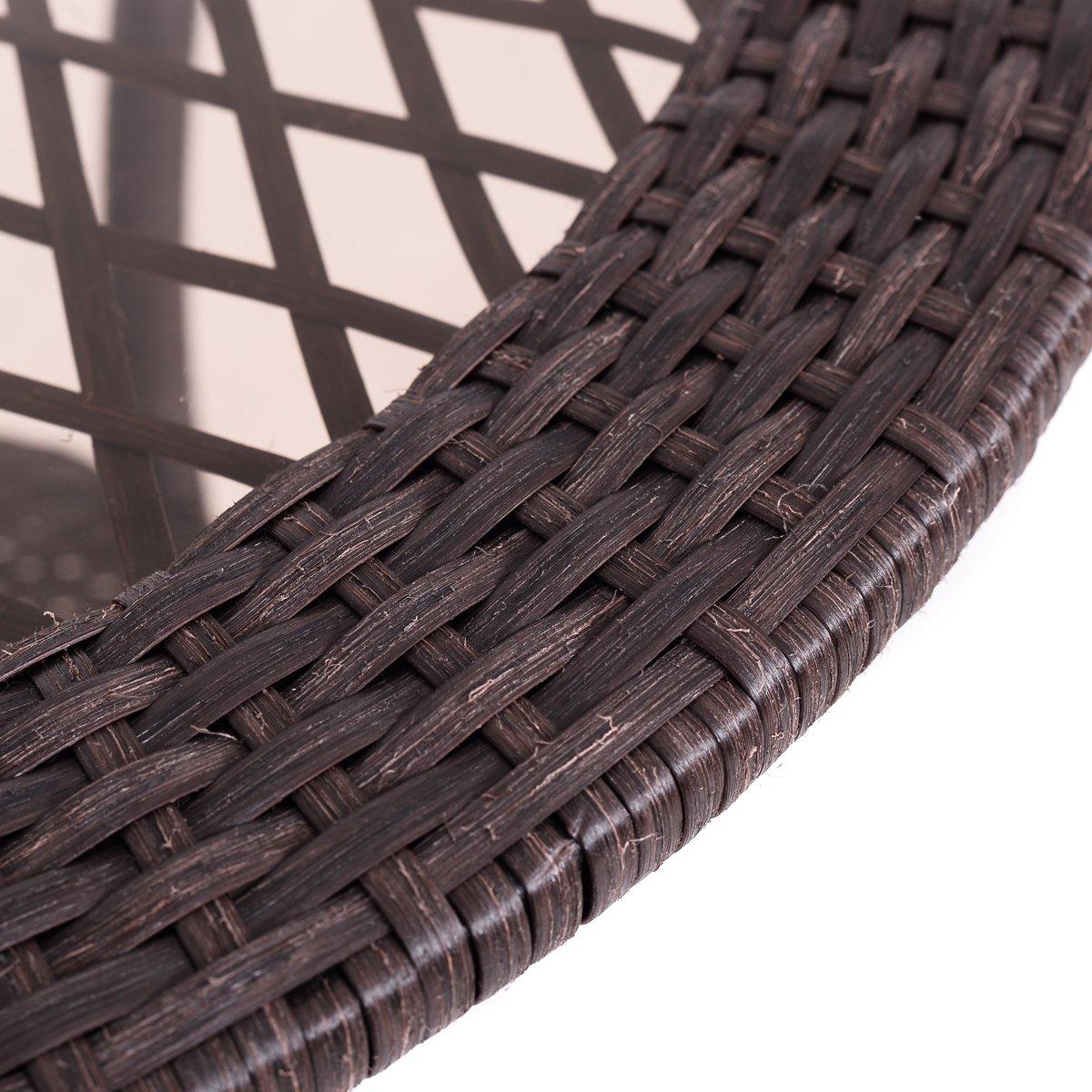 Giantex Round Rattan Wicker Coffee Table Glass Top Steel Frame Patio Furni W/Lower Shelf (Round)