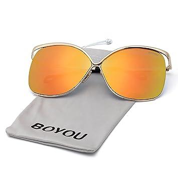 BOYOU Marco del diseño clásico del metal de las mujeres reflejó gafas de aviador para las vacaciones de verano
