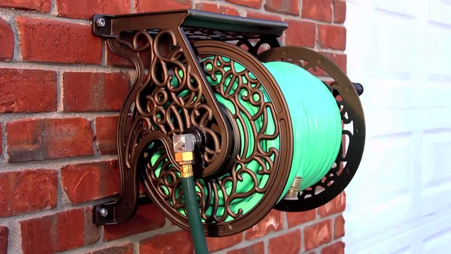 Amazon.com : Liberty Garden Products 704 Decorative Cast Aluminum Wall  Mount Garden Hose Reel, Holds 125 Feet Of 5/8 Inch Hose   Bronze : Patio,  ...