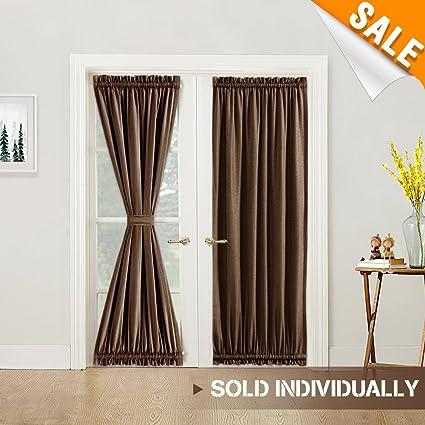 Amazon Room Darkening French Door Panel Thermal Insulated Linen