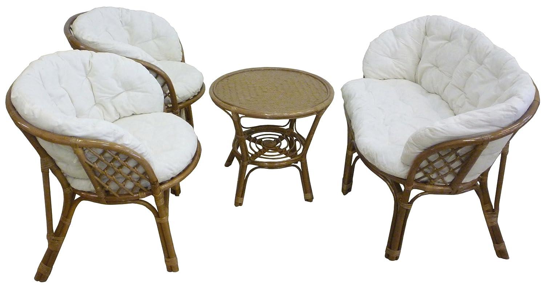 SAVINO FILIPPO SRL Set completo salotto in vimini bambù e rattan luna Bahama noce marrone divano poltrone tavolo da giardino balcone terrazzo veranda casa