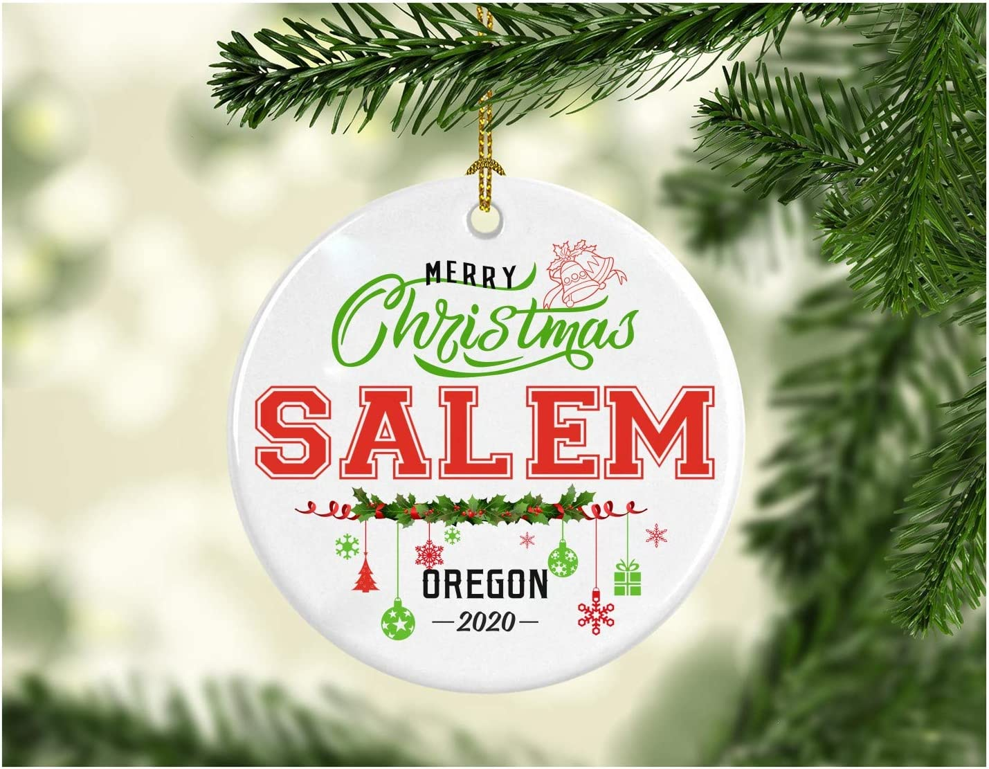 Christmas Decorations Tree Ornament - Gifts Hometown State - Merry Christmas Salem Oregon 2020 - Gift for Family Rustic 1St Xmas Tree in Our New Home 3 Inches White