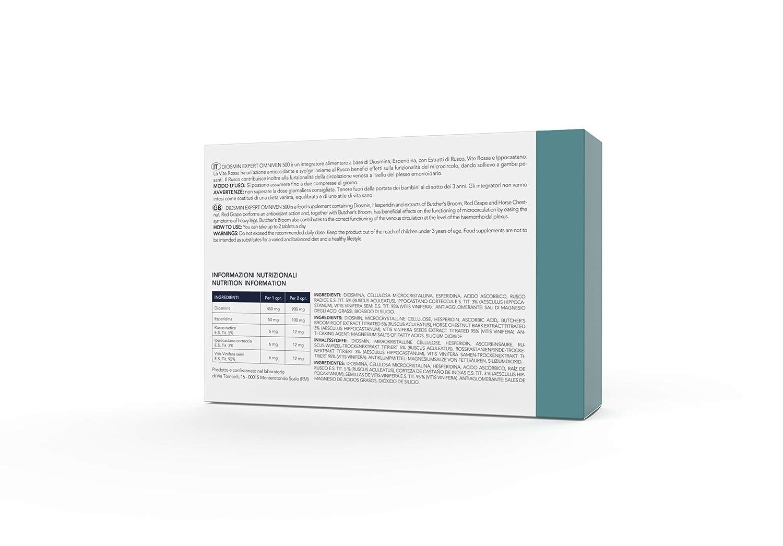 Diosmin Expert - Omniven 500 - Diosmina(450 mg), Hesperidina(50 mg), Vid roja, Ruscus, Castaño de Indias - específico para hemorroides y problemas de ...