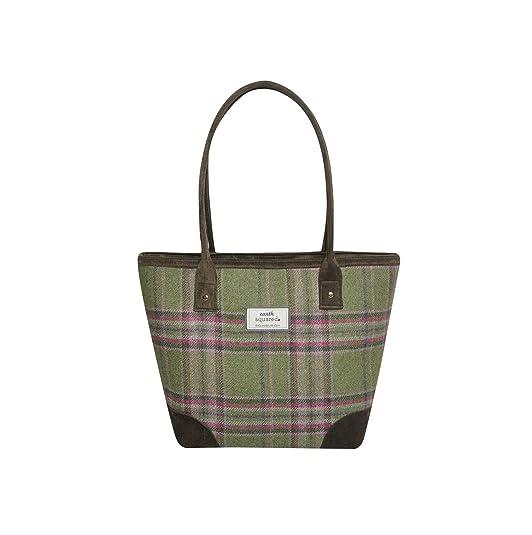 Tote Bag Green Shoulder Bag Earth Squared 27x39x14cm Tweed Wool
