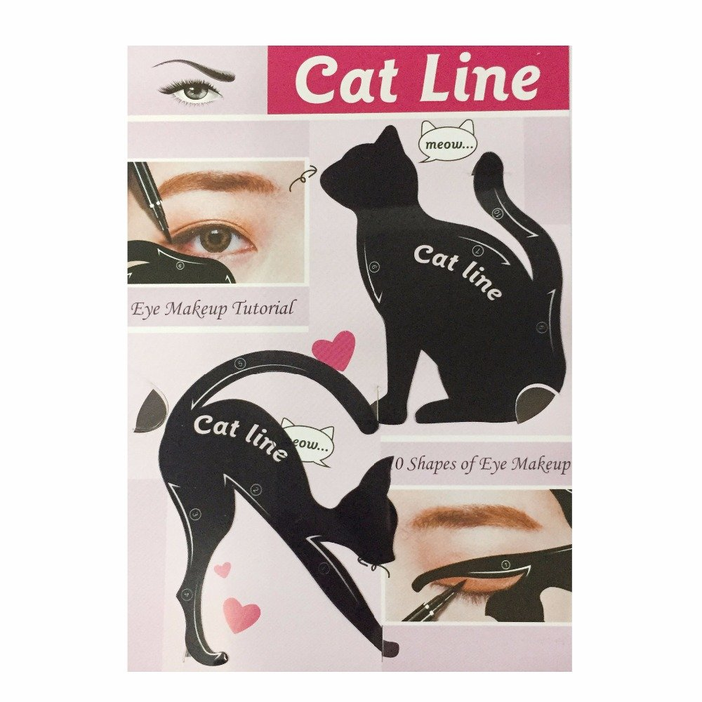 Ealine Cat Eyeliner Stencil PVC Material Cat Eyeliner Template Smoky Eyeshadow Applicators Template Plate, Professional Repeatable Eyeliner Template Plate Cat Shape Eyeliner Guide Template (2 in 1) guangzhou