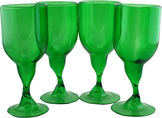 Water Goblets Green Glass Stemmed Holiday Lot 2 Colored Wine Glasses DF