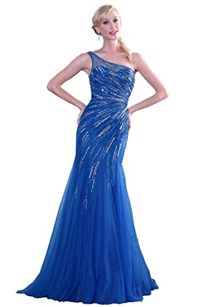 eDressit Asymmetric Neckline Blue Shiny Beaded Evening Dress Prom Dress - Blue -