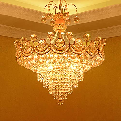 RUNNUP Glittering Crystal Cone Pendant Light European Style Chandelier