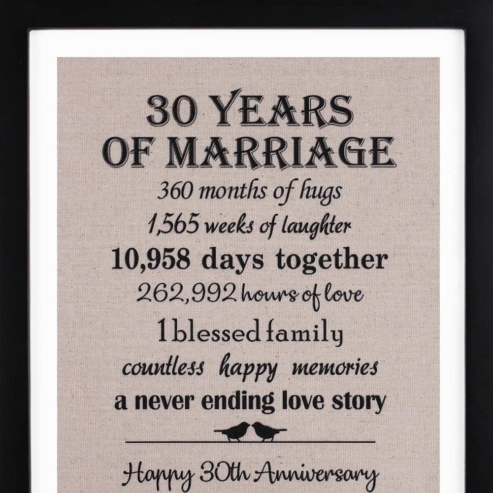 10th Anniversary Love Birds Burlap Print with Frame, 10th Wedding  Anniversary Gift For Her, 10 Year Wedding Anniversary Gifts for Couple