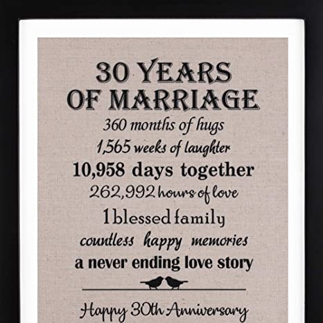 Amazon.com: 30th Anniversary Love Birds Burlap Print with Frame, 30th Wedding Anniversary Gift For Her, 30 Year Wedding Anniversary Gifts for Couple: ...