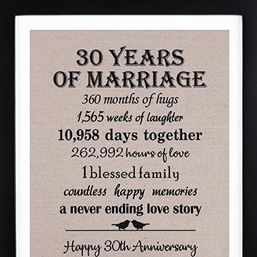 30th Anniversary Gift 30th Anniversary Seconds Hours Minutes 30 Year Anniversary 30 Years Together 30th Anniversary gift her