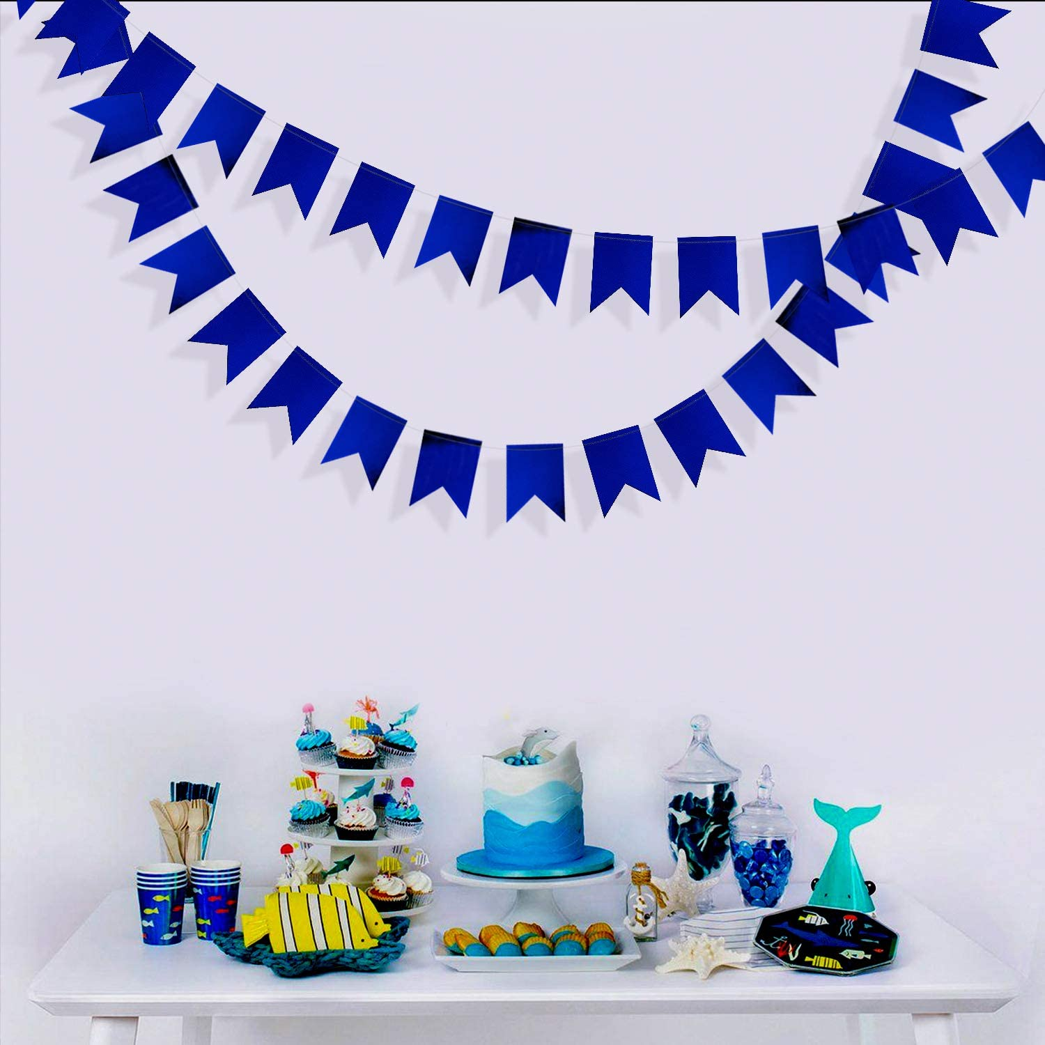 40 Ft Blue Christmas Navy Swallowtail Flags Banner Double Sided Metallic Paper Bunting Garland for Wedding Bridal Shower Birthday Bachelorette Engagement Anniversary Hen Party Decoration Supplies