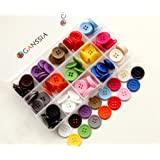 """GANSSIA 0.78"""" (20mm) Sewing Flatback Buttons 15 Colors Multi Pack of 150 Pcs with Box"""