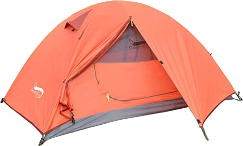 DESERT FOX Backpacking Camping Tent, Lightweight 1-3 Person Double Layer Waterproof Portable Travel Tents for Camping, Hiking