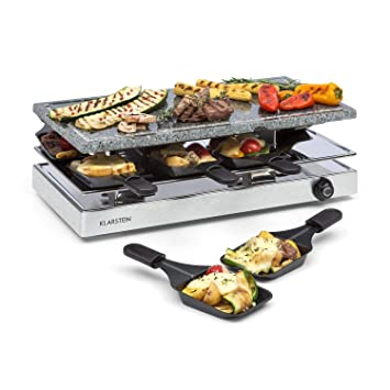 Klarstein Gourmette Raclette con Plancha de Piedra Natural • Raclette- Barbacoa • Fiestas de Barbacoa