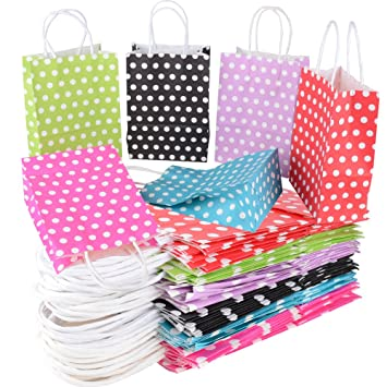 30pcs(15*8*21cm) Bolsas Papel Kraft Colores con Asas para ...