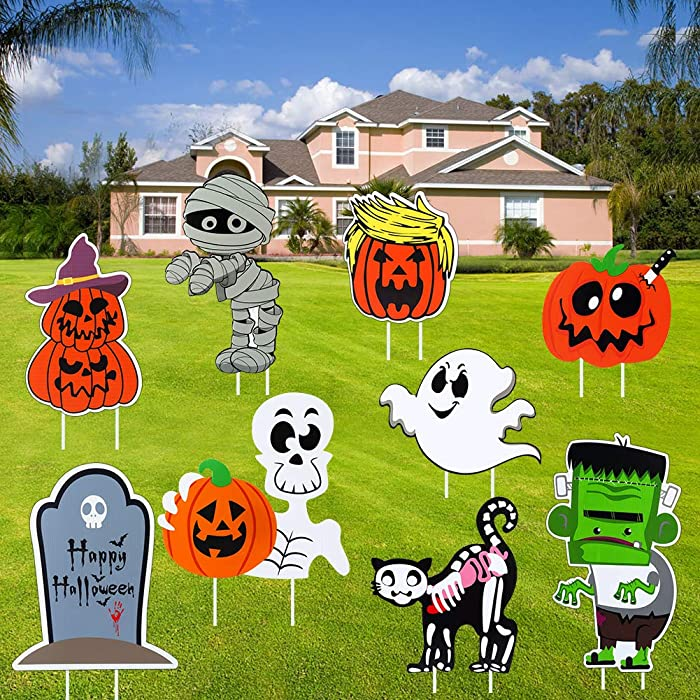 FunsLane Yard Signs with Stake, for Outdoor Lawn Yard Garden Decorations, Trick or Treat Party, Large Pumpkin Skeleton and Ghost 9 Pack