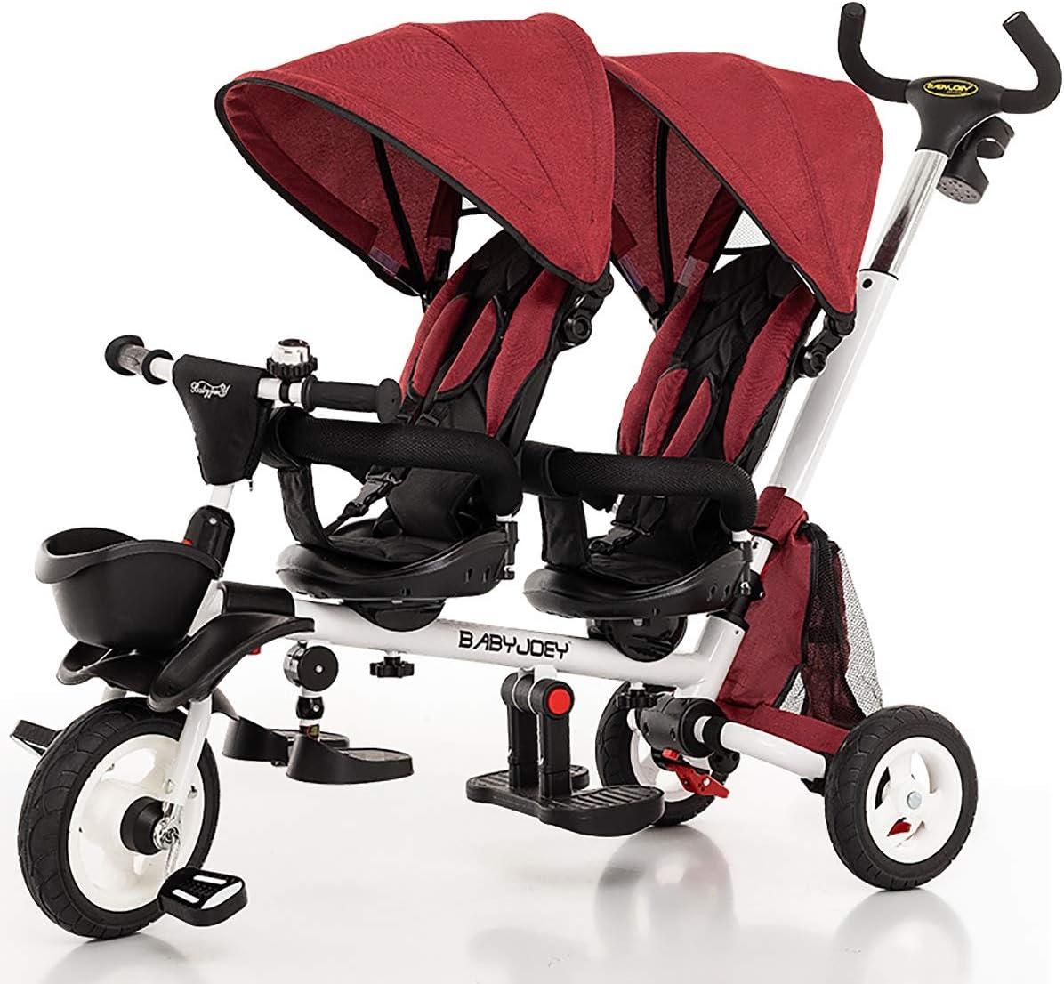 AI-QX Triciclo para Niños -Silla gemelar para Gemelos y Hermanos de 6 Meses hasta 25 kg, con Barrera de Seguridad