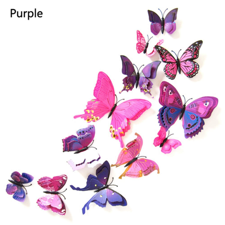 Amazon.com: Batop [12Pcs 3D Double Layer Butterfly Wall Sticker - Home Decor DIY Butterflies Fridge Magnet Stickers Room Decoration (Purple): Home & Kitchen