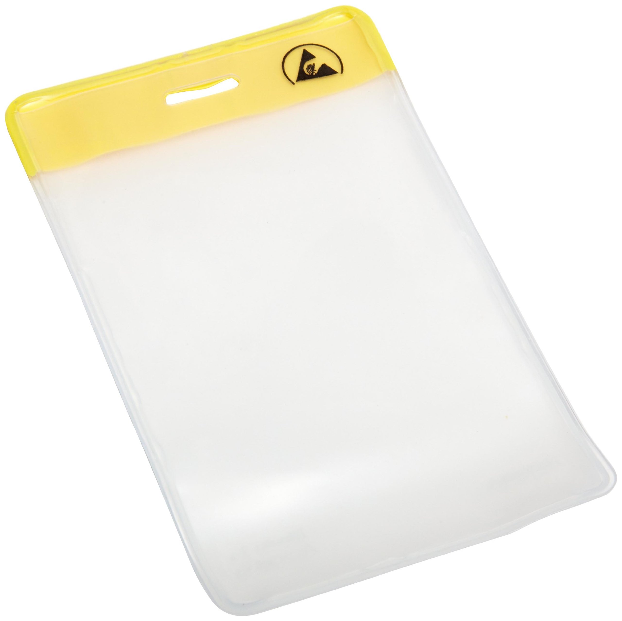 Menda 35014 Yellow Header ESD Safe Vertical Proximity Card Holder, 4-3/8'' Outer Length x 2-11/16'' Outer Width, 3-3/8'' Insert Length x 2-1/8'' Insert Width (Pack of 50)