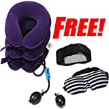 HTM Cervical Neck Traction Device – Improve Spine Alignment to Reduce Neck Pain – Cervical Pillow With Collar Adjustable | Bonus 3D Eye Mask & Cervical Collar