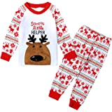 Boys Girls Christmas Pyjamas Sets Toddler Kids Reindeer Costume Long Sleeve Pjs Nightwear Sleepwear