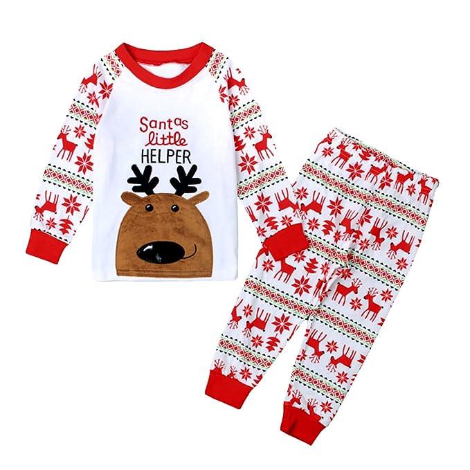 LITTLE HAND- Pijama de Navidad Dos Piezas niños niñas Pijama patrón de Renos (1-7 años)