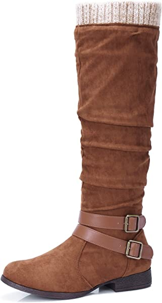 a7398e4838fd CAMEL CROWN Women s Faux Suede Knee High Slouch Boots Wide Calf Low Block Heel  Winter Riding ...