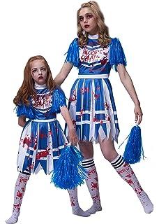 Teenage Bloody Zombie Cheerleader Costume & Pom Poms ...