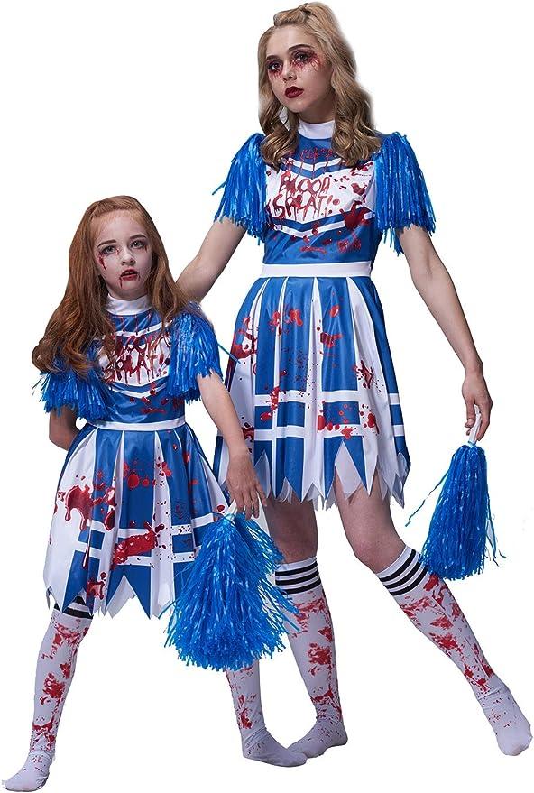 GIRLS BLACK ZOMBIE CHEERLEADER CHILDS SCHOOL FANCY DRESS COSTUME HALLOWEEN TEEN
