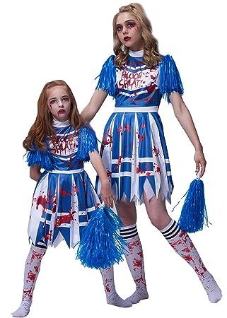 IKALI Disfraz de Animadora Zombie para niña, High School Bloody ...
