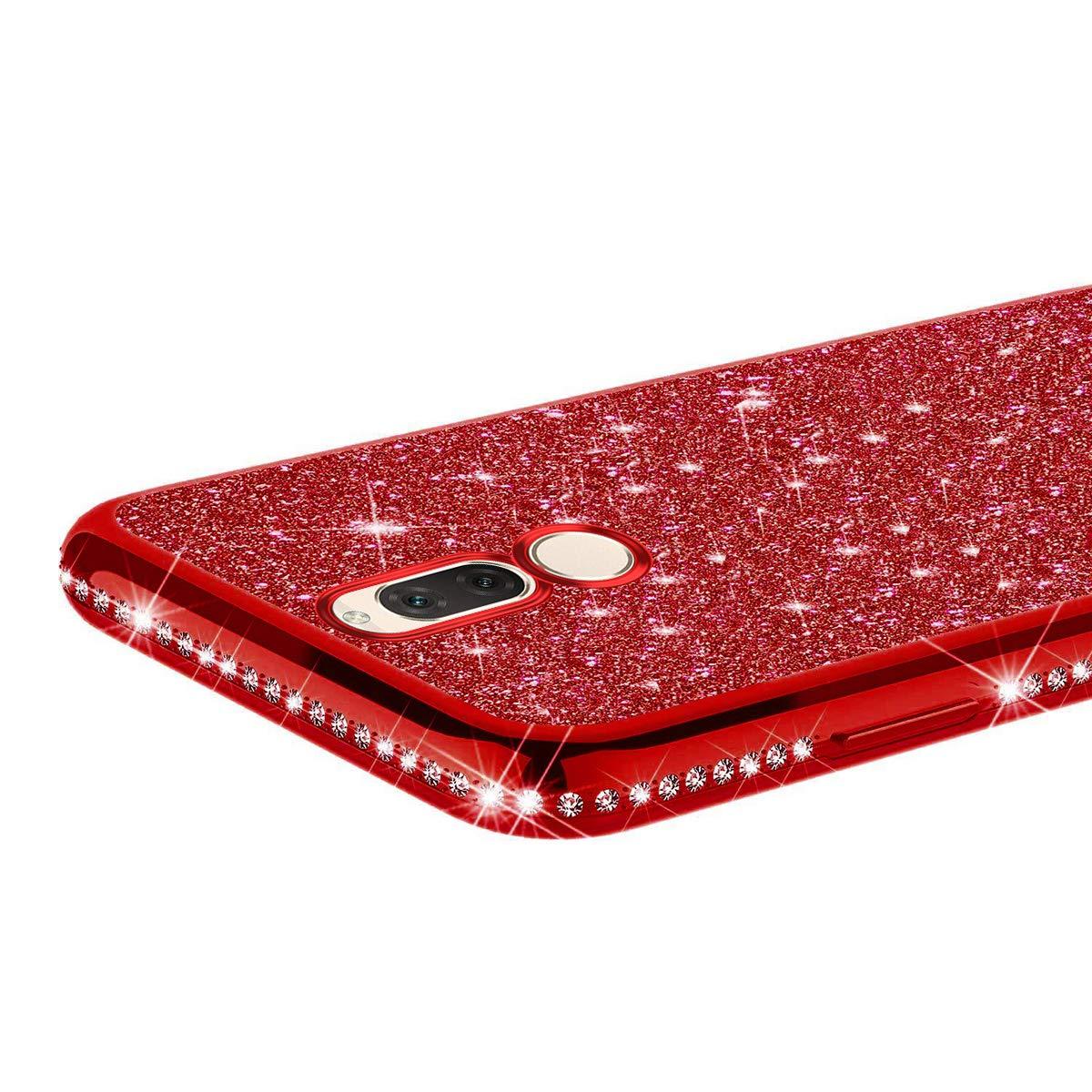 JAWSEU Funda Brillante Brillo Compatible con Huawei Mate 9 Carcasa Purpurina Bling Glitter Diamantes Suave Silicona TPU Gel Cubierta Ultra Delgado Enchapado Goma Protectora Funda Case,Roja