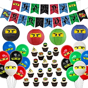 Ninja Birthday Party Supplies Decorations - Ninja Happy Birthday Banner 24 Cupcake Toppers Ninja Balloons Stickers for Boys Ninja Warrior Themed Birthday