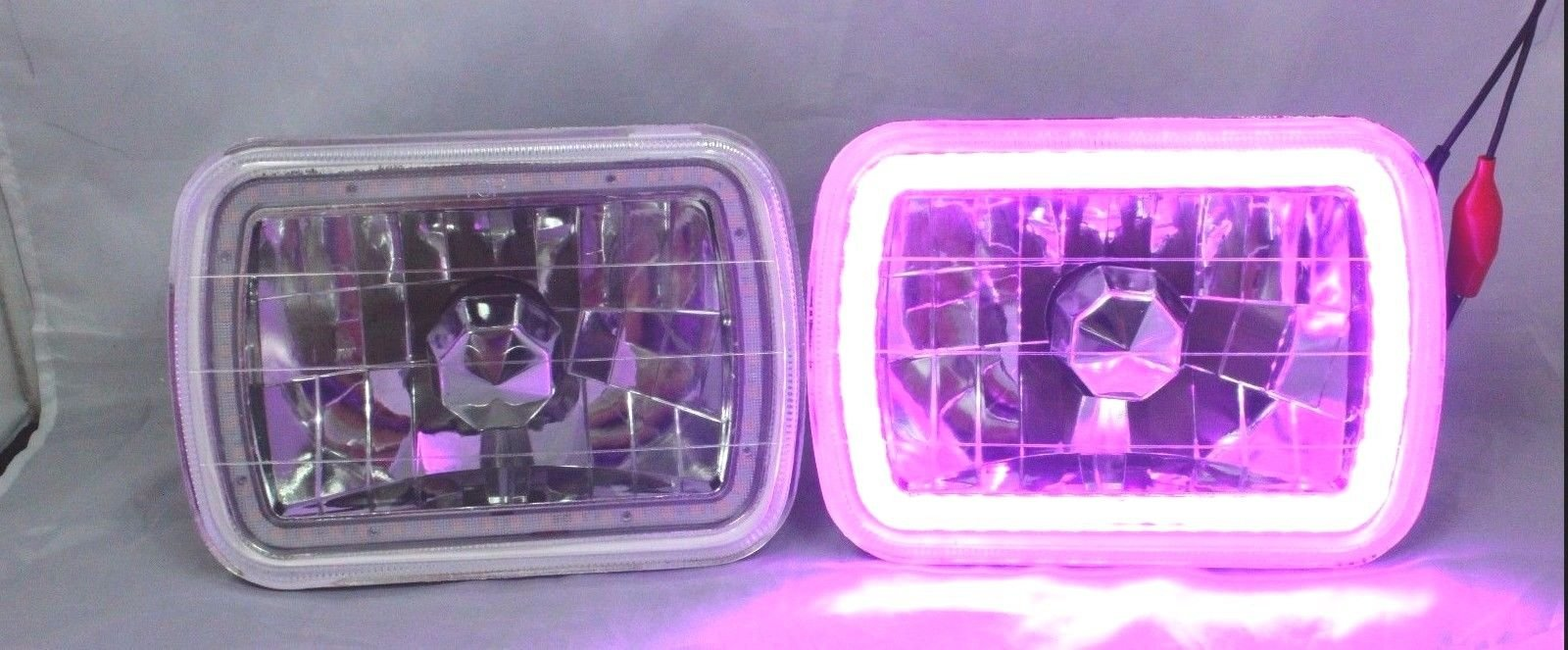 86-95 JEEP WRANGLER YJ GLASS HEAD LIGHTS SMD HALO GREEN LED HEADLIGHTS H4