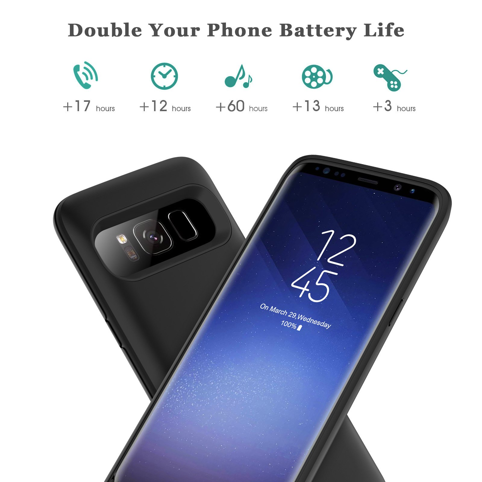 Galaxy S8 Plus Battery Case 6500mah,Rechargeable Charging CaseforSamsung GalaxyS8 Plus Backup Power Case Samsung S8+ Battery Cover-Black by Pxwaxpy (Image #3)