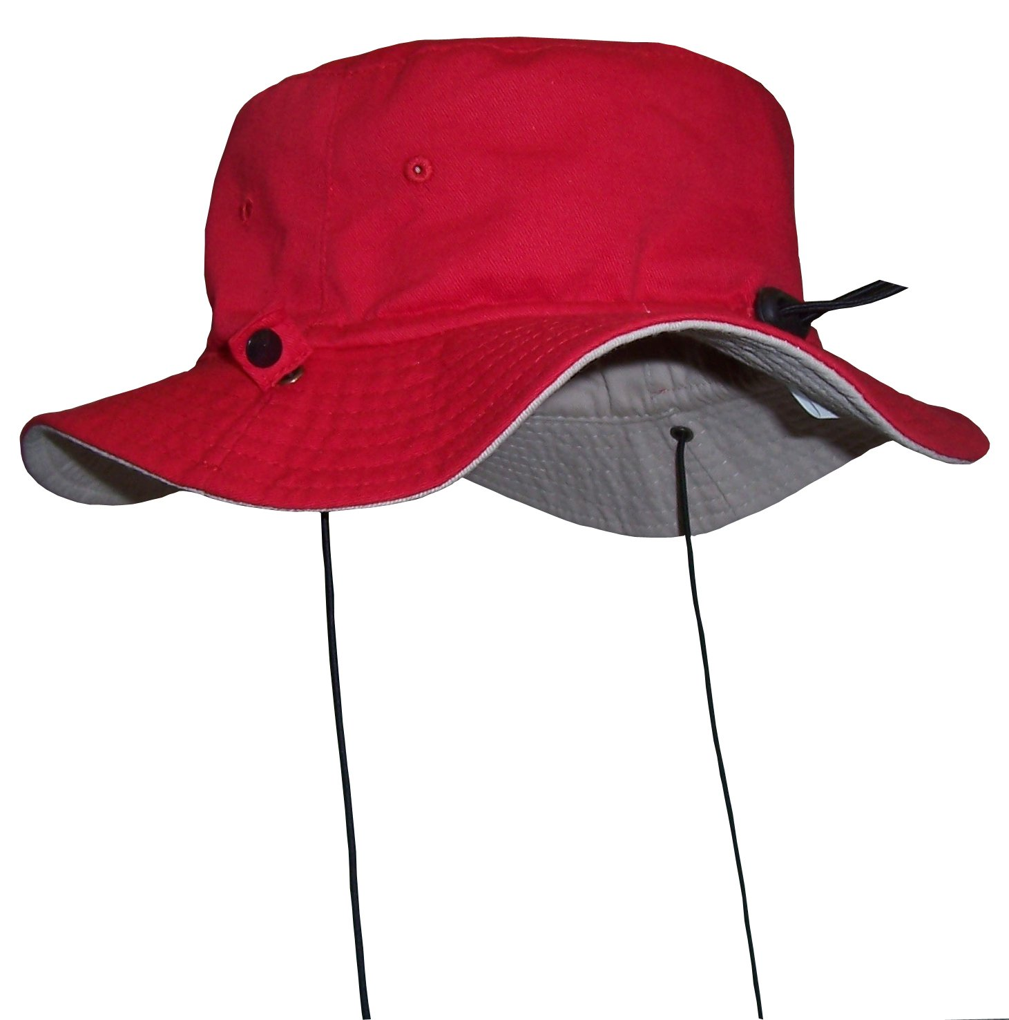 N'Ice Caps Kids Reversible Adjustable Cotton Twill Aussie Sun Protection Hat (Khaki/Red, 56cm (22'') 4-6yrs)