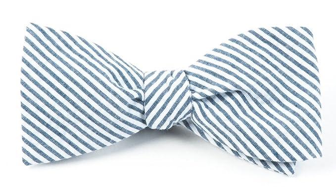 da2879962645 The Tie Bar 100% Cotton Midnight Navy Seersucker Self-Tie Bow Tie at ...