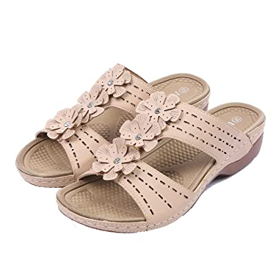 Women Slipper Casual Square Heel Flower Comfortable Rome Slides Slippers Large Size 61617-34