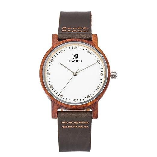 Reloj de madera de bambú natural, UWOOD The Vigilanza Tamaño pequeño 36mm Regalo de mujer