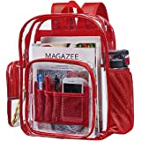 Clear Transparent Backpack, Heavy Duty Clear Backpack with Laptop Compartment, Large PVC Multi-Pockets Backpacks for College, Travel, Security, Sporting Events (Red)