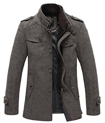SEFON Mens Winter Wool Blend Classic Pea Coat Single Breasted Thicken Slim Fit JacketCoffee