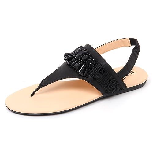 D0610 infradito donna HOGAN VALENCIA scarpa pietre nero sandal shoe woman