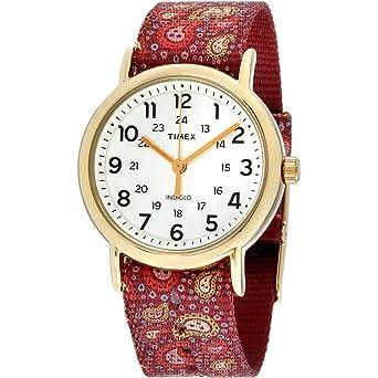 Timex Damenuhren Mit Beleuchtung | Timex Uhren Weekender Damen Edelstahl Ip Gold Uhrzeit Tw2p81000