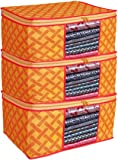 Porchex Presents Non Woven Saree Cover Storage Bags for Clothes with primum Quality Combo Offer Saree Organizer for Wardrobe/Organizers for Clothes/Organizers for Wardrobe Pack of 3