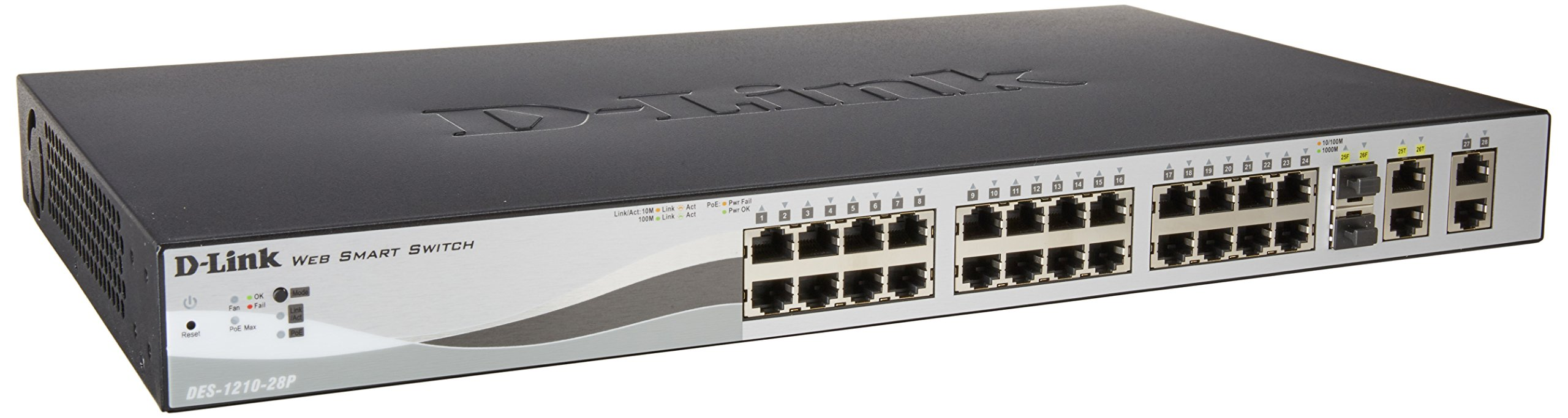 D-Link 28-Port Fast Ethernet WebSmart PoE+ Switch including 2 Gigabit BASE-T and 2 Gigabit Combo BASE-T/SFP Ports (DES-1210-28P)