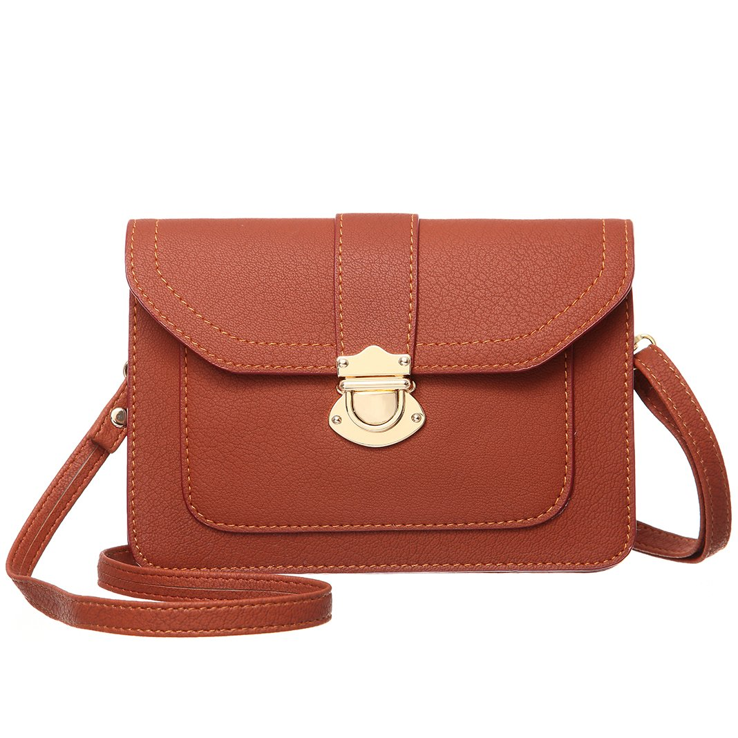 MINICAT Classic Envelope Style Premium Leather Small Crossbody Cell Phone Wallet Purse Bag For Women(Brown)