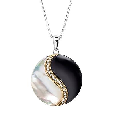 Amazon onyx and mother of pearl yin yang pendant necklace with onyx and mother of pearl yin yang pendant necklace with 110 ct aloadofball Image collections