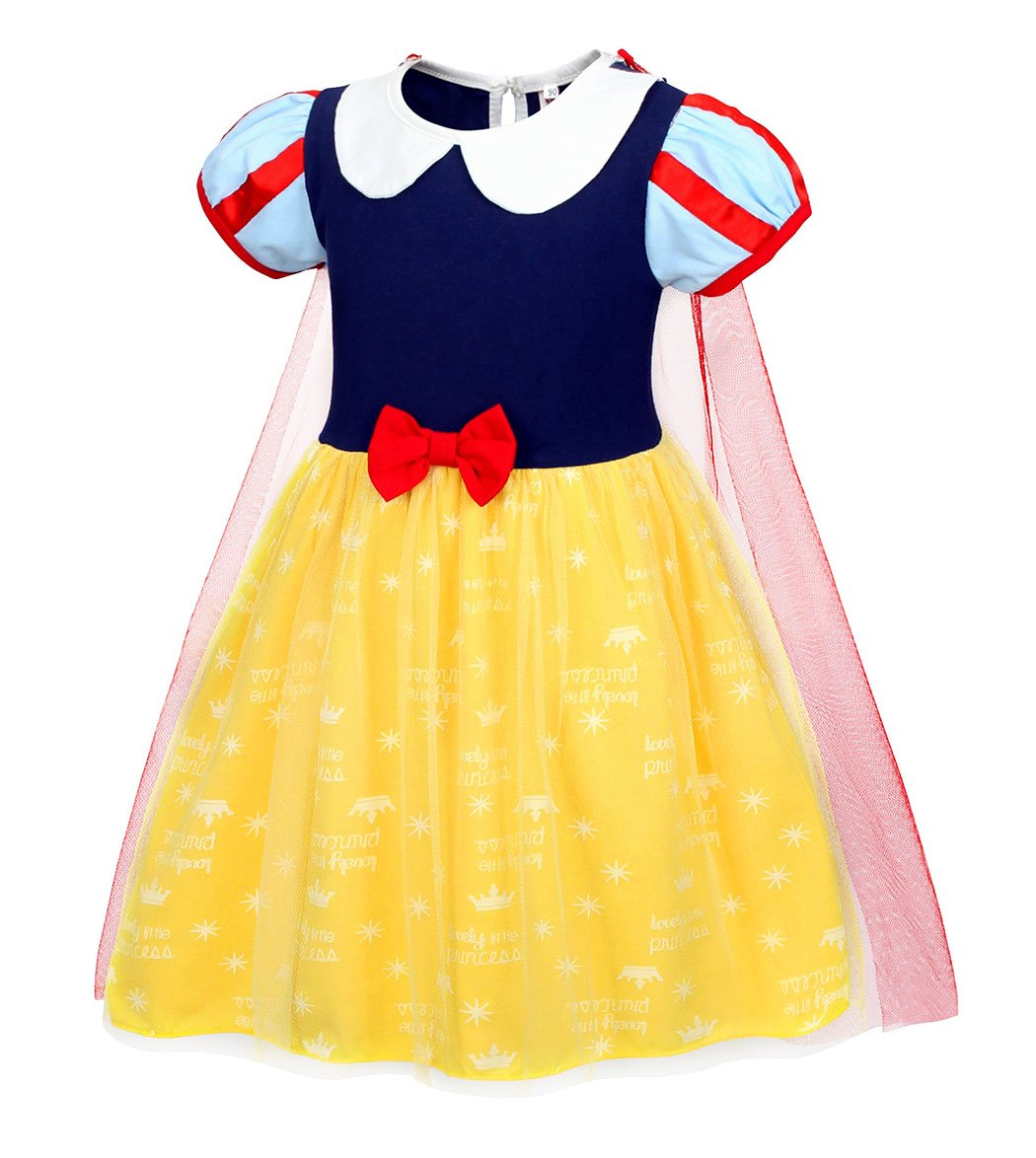 Jurebecia Princess Snow White Dress Toddler Girls Nightgowns Birthday Halloween Party Costumes with Cape Size 3T by Jurebecia (Image #3)